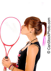 I love to play tennis - A young tennis player symbolically...