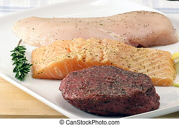 raw meats - raw fresh and juicy beef, chicken and fish great...