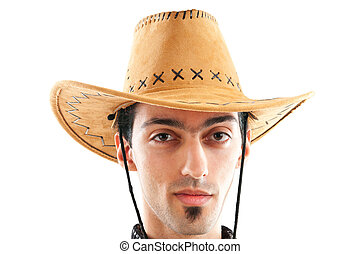 Young man wearing cowboy hat on white