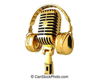 Classic microphone and headphones - Golden Classic...