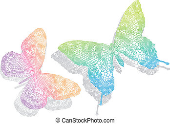 butterflies with shadow, vector