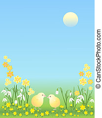 easter chicks with flowers - an illustration of two easter...