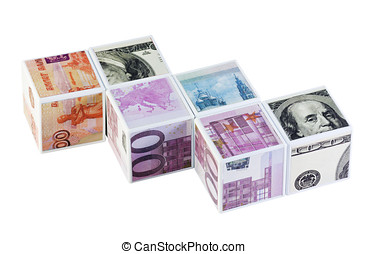 currency games - toy blocks with currency from different...