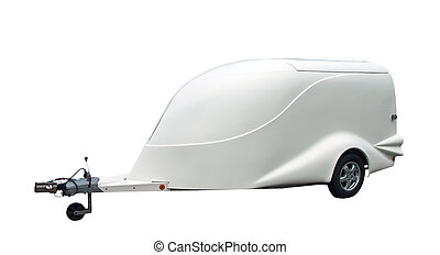 Car trailer, isolated on a white background.