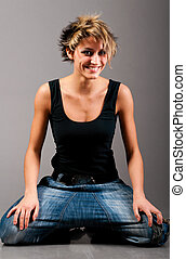 dancing woman - sexy fashionable knelt down woman wearing...