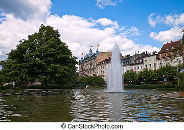 Central park with a fountain Europe, Germany, Baden-Baden