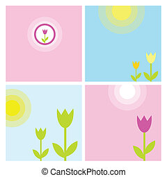 Set of Spring background - Spring backgrounds with copy...