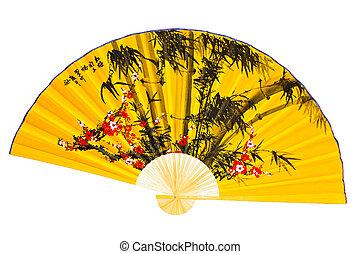 Fan - A fan on a white background. Japanese Culture