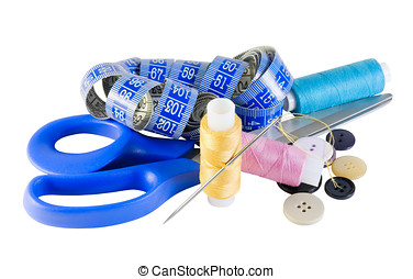 Sewing Kit - thread and scissors and various items for...