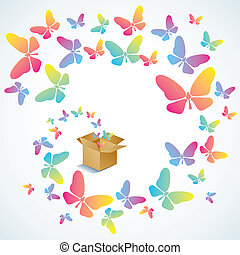 Open box and the butterfly - Open cardboard box with...