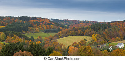 Eifel Landscape, Germany - Valley with farmland, isolated...