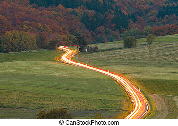 Ribbon of light on country road