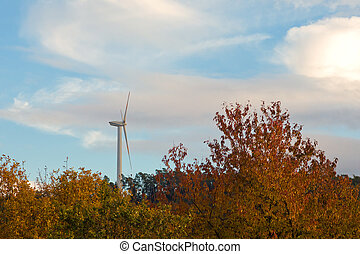 Wind turbine - Green energy from wind: large wind turbine...
