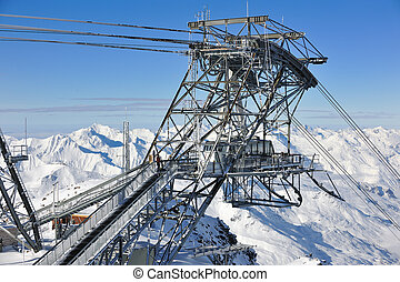 chair lift at winter ski resort - modern chair lift at...
