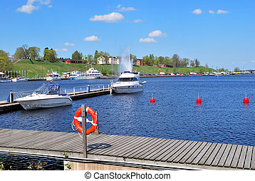 Lappeenranta harbor, Finland - Sunny harbor of the town of...