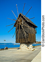 Windmill in Nesebar, Bulgaria - The old wooden windmill in...