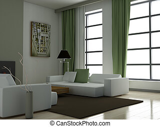 Modern interior 3D render - Living room