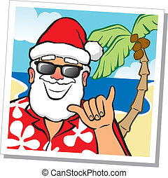 Dude, Im on Vacation - Illustration of a snapshot of Santa...