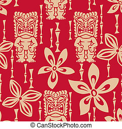 Seamless Tiki Tapa pattern - Illustration of a seamless Tiki...