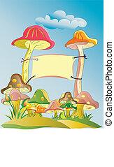mushroom garden - colourful mushroom