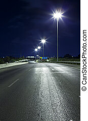 Highway at Night - Empty freeway at night
