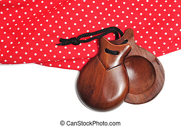 castanets and flamenco dress typical of Spain