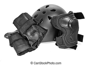skating protection equipment, helmet and knee and wrist...
