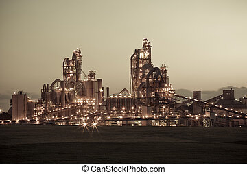 Factory Chemical Plant At Night - Chemical plant at night -...