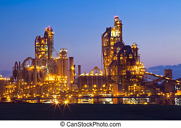 Factory Chemical Plant At Sunset - Night panorama image of...