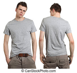 il portare, grigio, maschio, camicia, vuoto
