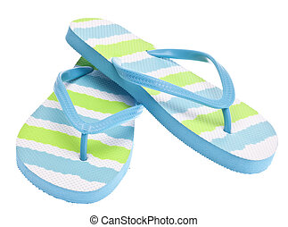 Blue and Green Flip Flop Sandals Isolated on White with a...