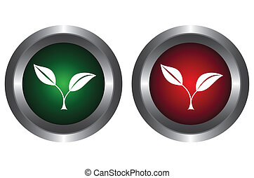 Two buttons with plants on a white background