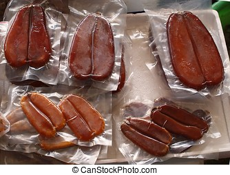 Dried Fish Roe Mullets - Salted and dried fish eggs, a...