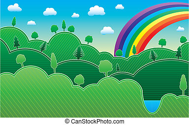 Spring or summer background with meadow, trees and rainbow, vector illustration