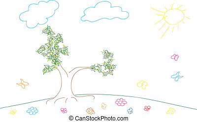 Sketch spring or summer background with meadow, flowers and butterfly, vector illustration