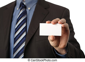businesscard - businessman holding a blank businesscard in...