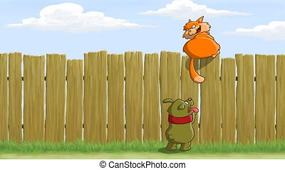 Fence - On the fence cat teasing dog, animated cartoon