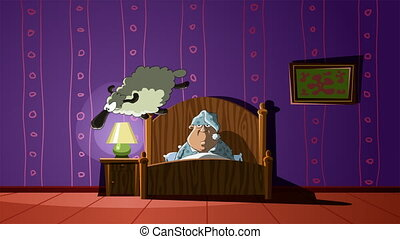 Bedroom - The man in the bedroom considers sheep, animated...