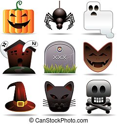 Halloween utilities - Nine halloween related objects in...