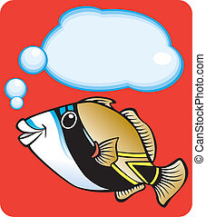 Reef Triggerfish - Illustration of a reef triggerfish...