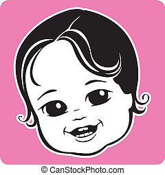 Cute Baby Face - Vector Illustration of a cute baby's face