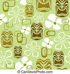 Exotic Tiki Paradise Pattern - Illustration of a seamless...