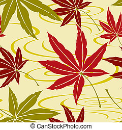 Seamless Japanese Maple Leaf Patter - Illustration of a...