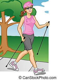 Woman Polewalking - vector Illustration of a healthy woman...