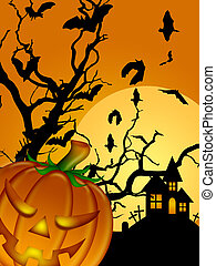 Halloween Carved Pumpkin Bats Moon Cemetery Tombstone Tree...