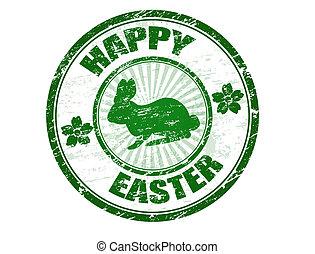 Happy Easter stamp - Green grunge rubber stamp with bunny...
