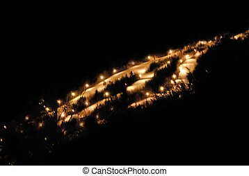 Night-time skiing - Night view of shawnee peak ski area.