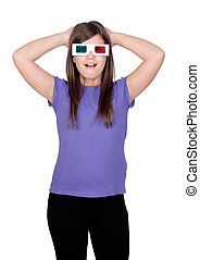 Surprised girl with three-dimensional glasses isolated on...