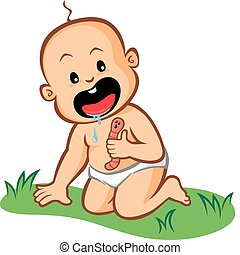 Get That Out of Your Mouth!!! - Illustration of a baby about...