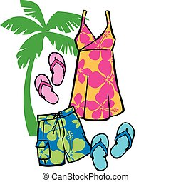 Tropical Beachwear - Vector Illustration of articles of...